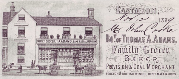 A bill dated 1899 from Thomas Adams, Family Grocer, Baker and Coal Merchant
