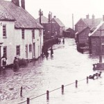 Flood outside Barnards Cottages, 1953