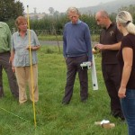 Carl demonstrates use of magnetomter to David, Hilary, Alastair and Jenny.