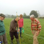 Setting up the grid, Carl demonstrates to Ron Ingerson, Jane Brown and David Hopkins