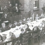 Children's tea outside the Institute,