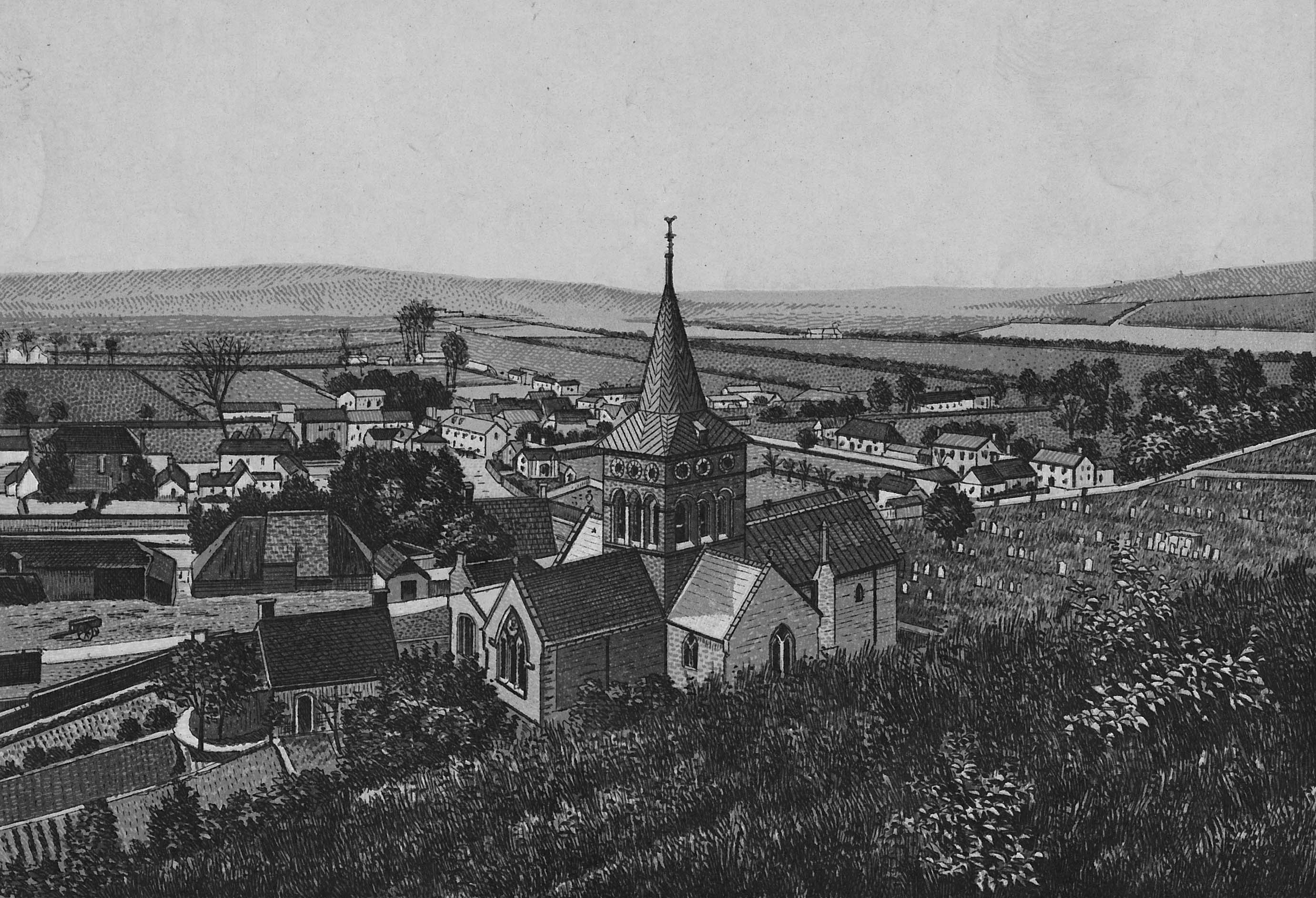 Engraving of East Meon from Park Hill showing All Saints Church