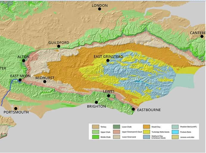 Geological formations of East Hampshire and Sussex