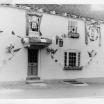 George Inn with bunting.