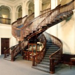 The magnificent double-spiral staircase designed by the Hooydonk Brothers