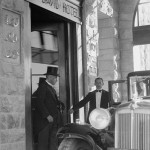 Lord Peel leaving the King David Hotel, Jerusalem, during negotiations on the partitioning of Palestine.