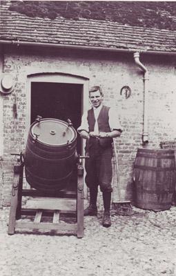 Man with barrel