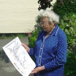 Margery holding Map