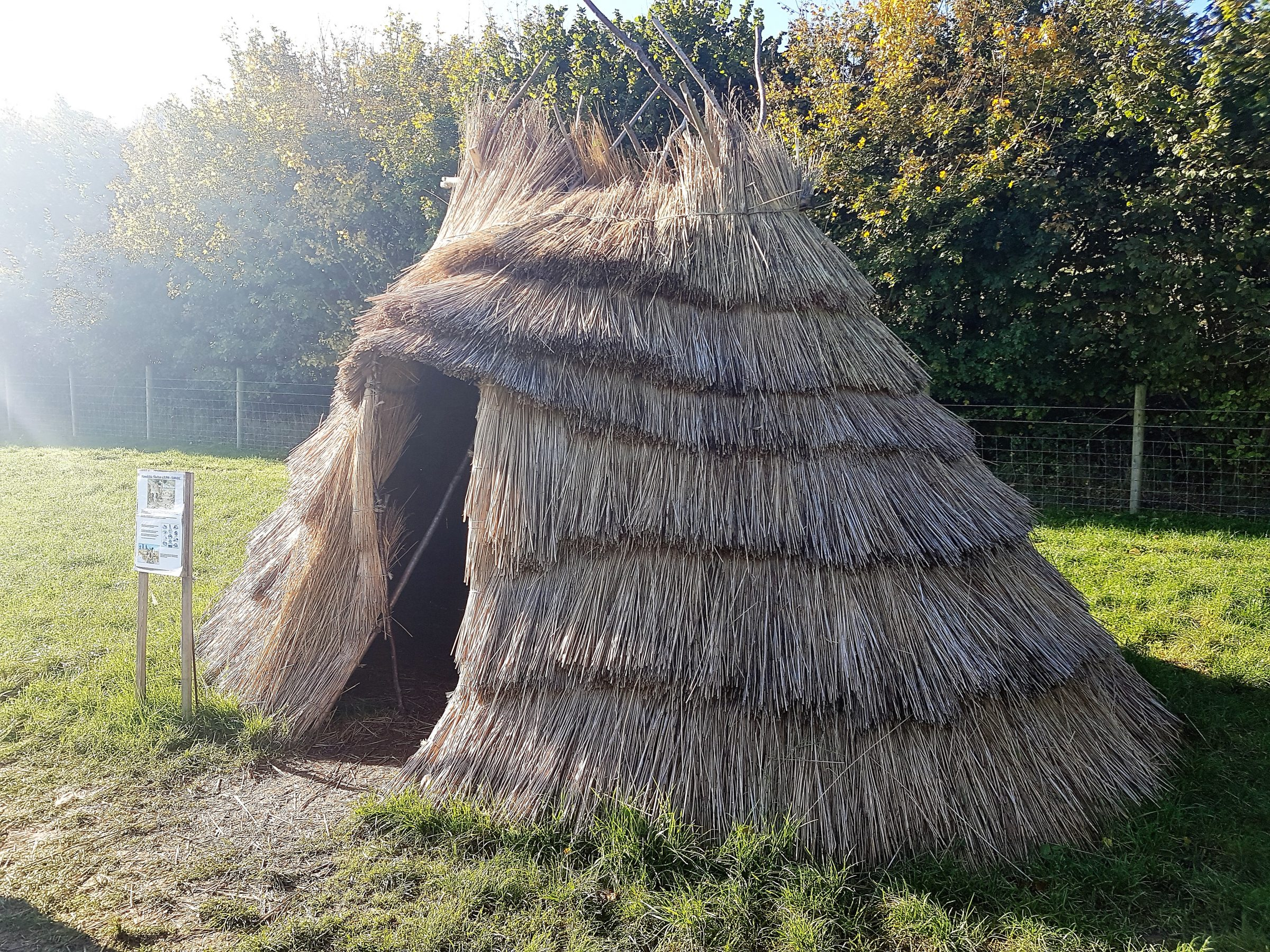 Mesolithic shelter. Reconstruction Butser Ancient Farm