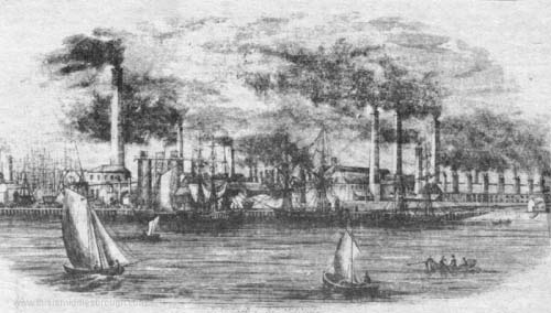 Middlesbrough Iron Works blast furnace iron-making plant in the1840s