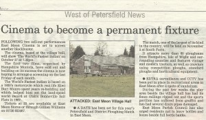 Petersfield Post announces arrival of Moviola in East Meon, October 2006