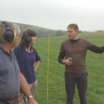 Nick Stoodley directs Claire Wightman where to conduct metal detection, supervised by John Macnee.