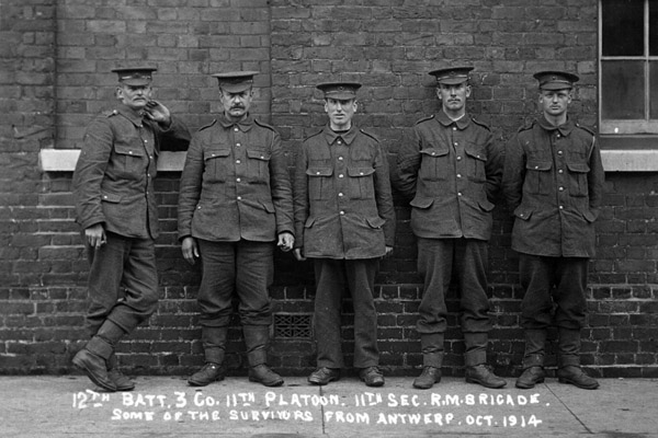 Owen Budd is in the centre of this photograph of Royal Marines taken in 1914.