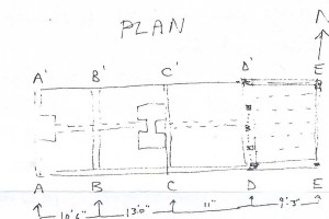Edward Roberts' sketch of the floor plan of Hockley Cottage