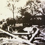 Sawing wood at Drayton