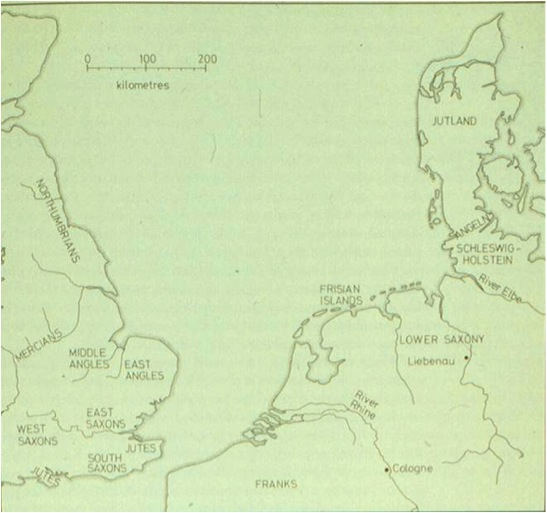 The northern European territories from which settlers came to Britain
