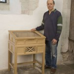 Steve Lamont by memorial cabinet