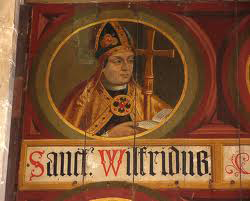 The Lambert Barnard mural of St. Wilfrid commissioned by Bishop Sherburne c 1508-1536 in the North Transept of Chichester Cathedral.