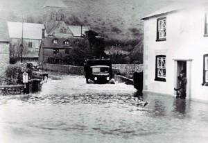 Truck in flooded Church Street