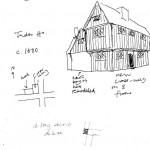 Sketch showing Edward Roberts' visualistion of the 16th century house