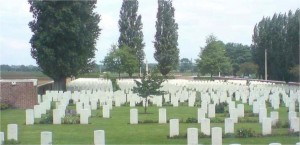 War cemetery at Voormezeele Enclosure No.3, Ypres, where three soldiers from East Meon are buried in adjoining graves