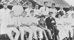 The Westbury cricket team, with Colonel Le Roy Lewis and his wife and son