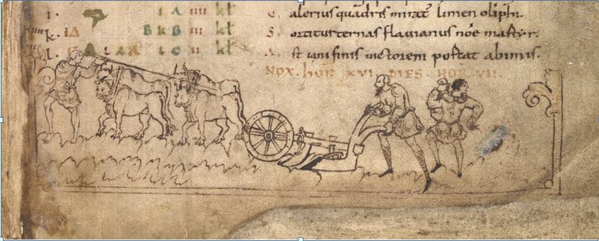Oxen drew the mouldboard plough. January illustration in the Julius Work Calendar, showing ploughing and sowing. © British Library